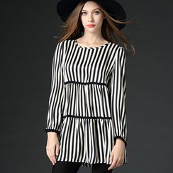 Mythmax - Long-Sleeve Zip-Back Striped Tunic
