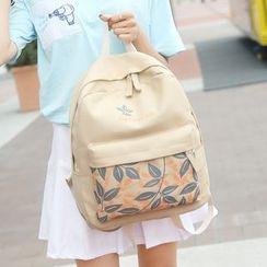 Seok - Leaf Print Canvas Backpack