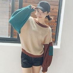 Frontline - Color Block Chunky Knit Sweater