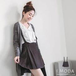 OrangeBear - Pleated Gingham Suspender Skirt