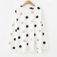 Meimei - Dotted Long-Sleeve T-shirt