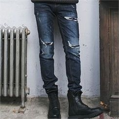 MITOSHOP - Distressed Tapered Jeans