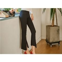 UUZONE - Boot-Cut Slit-Hem Pants