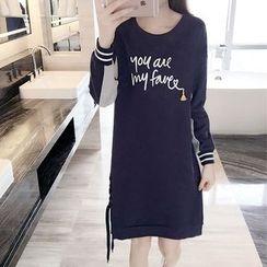 巧妮兒 - 印字雙色長袖連衣裙
