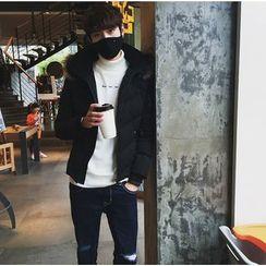 XINNI - Furry-Trim Hooded Zip Down Jacket