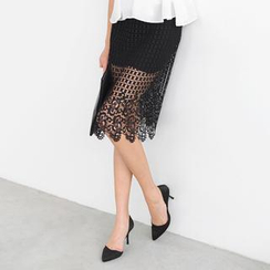 59 Seconds - Crochet Overlay Midi Skirt