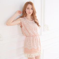 Tokyo Fashion - Lace-Panel Gathered-Waist Sleeveless Top