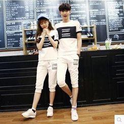 Azure - Couple Matching Set: Lettering  T-Shirt + Capri Pants