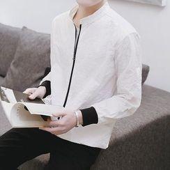 Danjieshi - Contrast Trim Zip Jacket