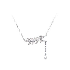 Zundiao - Sterling Silver Rhinestone Leaf Necklace