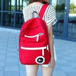 Miss Sweety - Contrast-Trim Canvas Backpack
