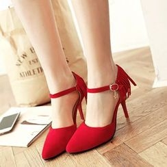 CITTA - Fringed Ankle Strap Pumps