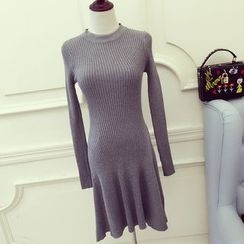 RUI - Pleated Long-Sleeve Knit Dress