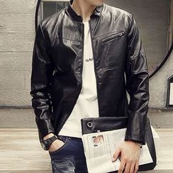 Besto - Faux Leather Biker Jacket