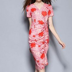 Merald - Floral Print Short Sleeve Ruched Sheath Dress