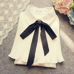 米蟲の小屋 - 前繫帶百褶襯衫