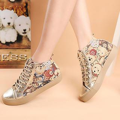Renben - Bear Pattern Hidden Wedge Sneakers