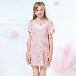 Aquafaba - Kids Short-Sleeve Floral Pajama Dress