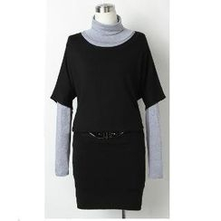 Call In - Set: Elbow-Sleeve Knit Top + Turtleneck Top + Pencil Skirt with Belt