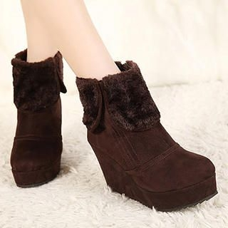Mancienne - Fleece-Trim Wedge Ankle Boots