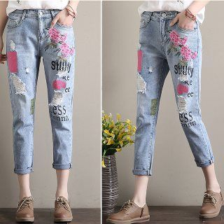 Romantica - Washed Distressed Embroidered Printed Slim-Fit Jeans