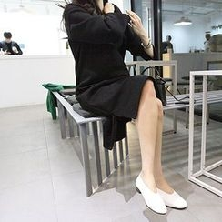 MARSHMALLOW - Maternity Ruffled-Hem Midi Dress