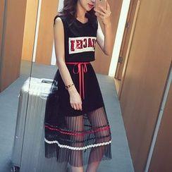 Cocofield - Set: Sequined Tank Dress + Pleated Mesh Midi Skirt