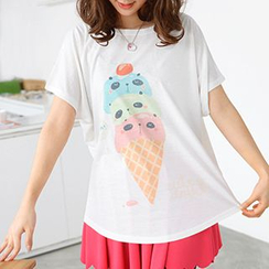 59 Seconds - Panda-Faced Ice Cream Print T-Shirt