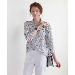 NIPONJJUYA - 3/4-Sleeve Pattern Stripe Shirt