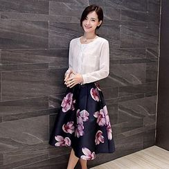 Romantica - Pleated Pocket Blouse / Floral Midi Skirt