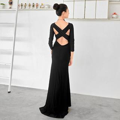 59 Seconds - Long-Sleeve Cross Back Sheath Evening Gown