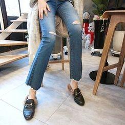 MARSHMALLOW - Maternity Distressed Semi Boot-Cut Jeans