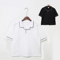 Mr. Cai - Short-Sleeve Contrast Trim Polo Shirt