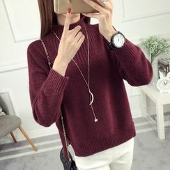 anzoveve - Mock Neck Thick Sweater
