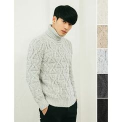 STYLEMAN - Turtle-Neck Cable-Knit Top