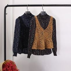 Clementine - 套裝: 碎花長袖上衣 + 針織馬甲