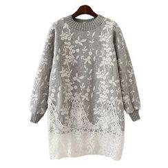 Girls Talk - Lace Hem Panel Long Sweater