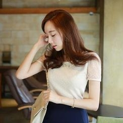 MyFiona - Beaded-Neckline Sheered Short-Sleeve Top