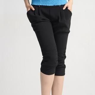 9mg - Zip-Detail Shirred Capri Pants