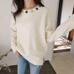 Hello sweety - Colored-Rhinestone Trim Slit-Hem Sweater