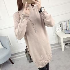 anzoveve - Embellished High Neck Long Sweater