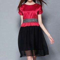 Merald - Short-Sleeve mock Two Piece Dress
