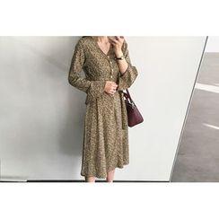 UPTOWNHOLIC - Ruffle-Cuff Flower Pattern Long Dress