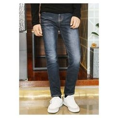 HOTBOOM - Washed Coated Straight-Cut Jeans