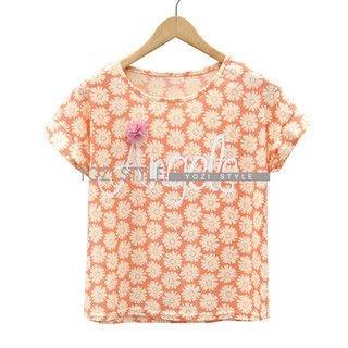 YOZI - Short-Sleeve Lettering & Daisy Print T-Shirt