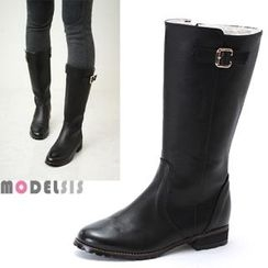 MODELSIS - Genuine Leather Faux-Fur Boots