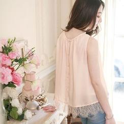 Tokyo Fashion - Lace Hem Sleeveless Chiffon Top
