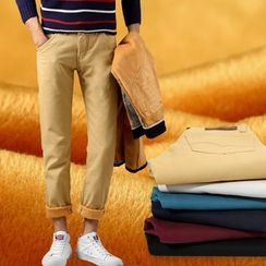 Denimic - Fleece-Lined Straight Leg Pants