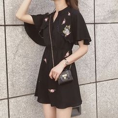 Cocofield - Flower Embroidered Split Neck Short Sleeve Shirtdress