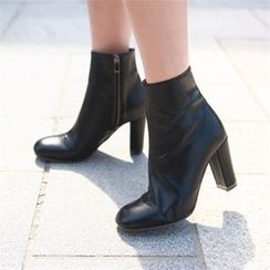 JVLLY - Faux-Leather Chunky-Heel Ankle Boots